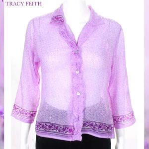 TRACY FEITH Purple Embroidered Button Down Blouse